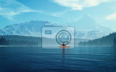 Image Homme avec canoë sur le lac