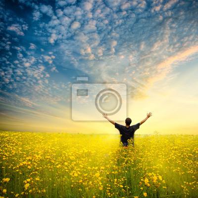 homme dans le champ jaune