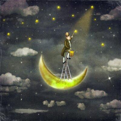 Homme, dessins, étoiles, sommet, grand, échelle, sombre, ciel