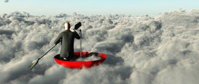 Image Homme, pagayage, par, nuages, renversé, parapluie
