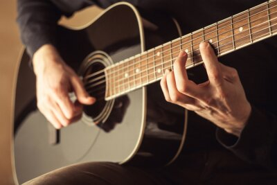 Image Hommes, jouer, guitare, gros plan, coup
