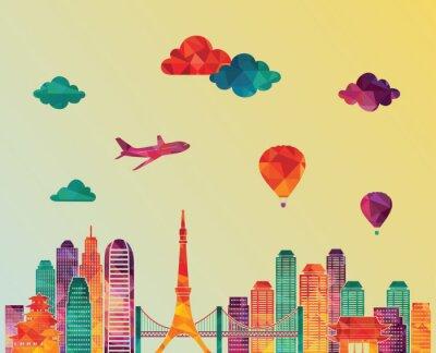 Image Horizon de Tokyo. Illustration vectorielle