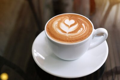 Image hot latte coffee put on table in cafe restaurant, drink breakfast in the morning day