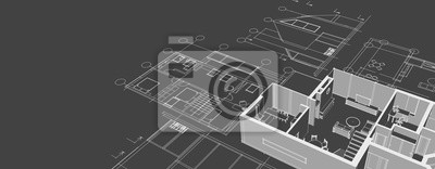 Image house architectural project sketch 3d illustration