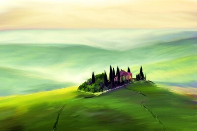 Image House on a beautiful hill drawing.