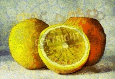 Image Huile, peinture, oranges, fruits, blanc