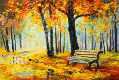 Image Huile, peinture, paysage, coloré, automne, forêt