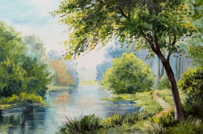 Image Huile, peinture, paysage, coloré, forêt