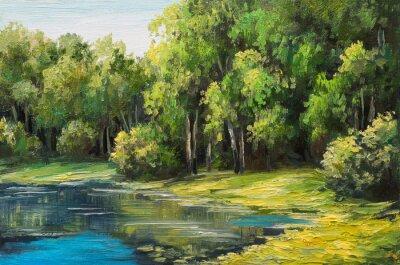 Image Huile, peinture, paysage, Lac, forêt, Été, jour