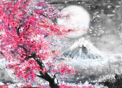 Image Huile, peinture, paysage, sakura, montagne, main, dessiné ...