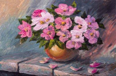 Image Huile, peinture, toile, encore, vie, fleurs, table