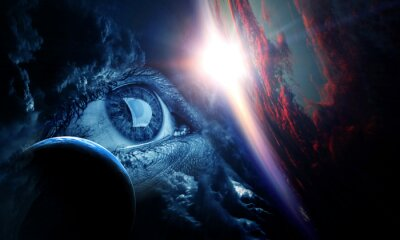 Human eye and space. Elements of this image furnished by NASA.