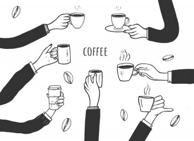 Image Human hands with cups of coffee set