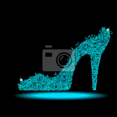 Icône, Cristal, chaussure, noir, fond, isolé