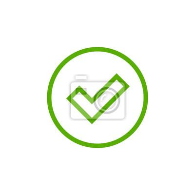 Icone De Cocher Vert Isole Sur Fond Blanc Design Graphique Simple Peintures Murales Tableaux Accreditation Coche Approuve Myloview Fr