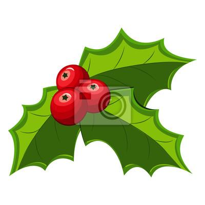 Feuille De Houx icône de feuilles de houx de noël. icône de gui rouge de vecteur