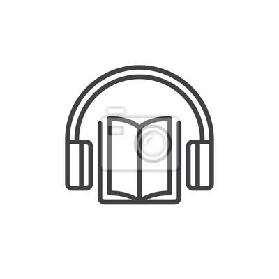 Image Icone De Ligne De Livre Audio Signe Vectoriel De Contour Pictogramme
