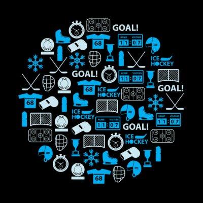 Image icônes bleues glace de sport de hockey mis dans le cercle eps10