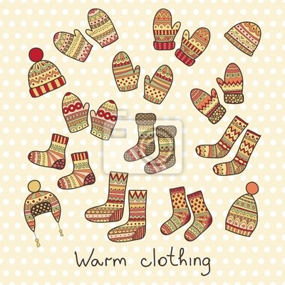 icônes d'hiver - chapeaux, des mitaines et des chaussettes.