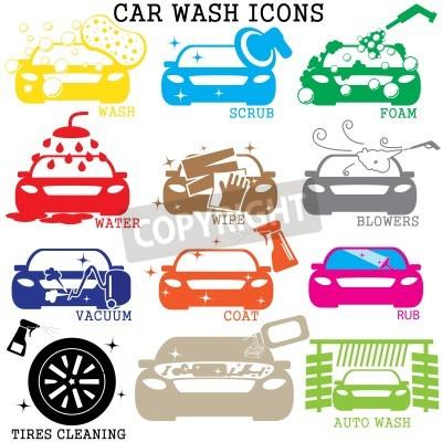 Image icônes de lavage de voiture de couleur sur fond blanc