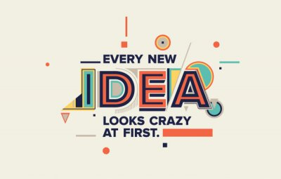 Image Idea quote in modern typography. idea  concept for your blog, wall graphics, typographic poster, web design and office space graphics.