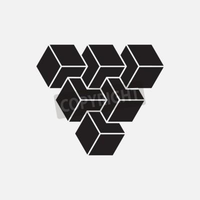 Image Illusion, cubes, géométrique, élément, vecteur, Illustration