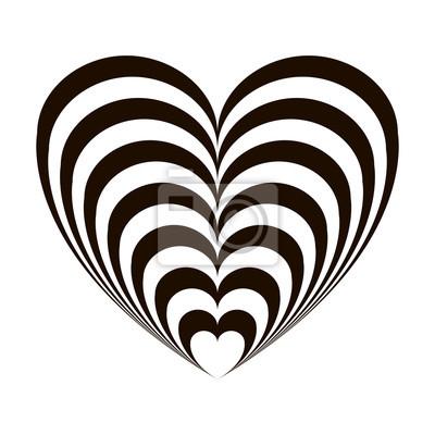 Image Coeur Noir Et Blanc illusion doptique géométrique coeur noir et blanc sur un fond