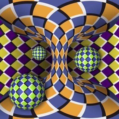 Image Illusion optique de rotation de trois boules autour d'un hyperboloïde en mouvement. Résumé fond.