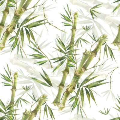 Image Illustration aquarelle de feuilles de bambou, modèle sans couture sur fond blanc