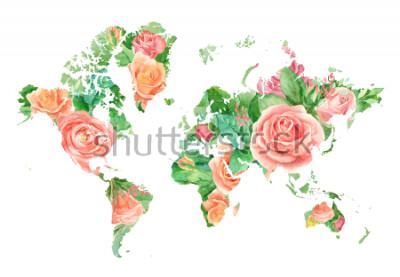 Image Illustration aquarelle de la carte du monde en fleurs. Modèle de projets de bricolage, invitations de mariage, cartes de voeux, affiches, blogs, site Web