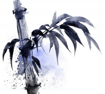 Image Illustration aquarelle et encre de bambou avec des chutes d'eau de couleur. Peinture traditionnelle orientale dans le style sumi-e, u-sin. Illustration artistique.