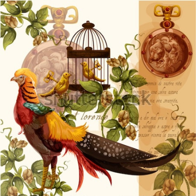 Image Illustration aquarelle numérique de vecteur avec lion et faisan de florence, idéal pour les imprimés textiles et les décorations