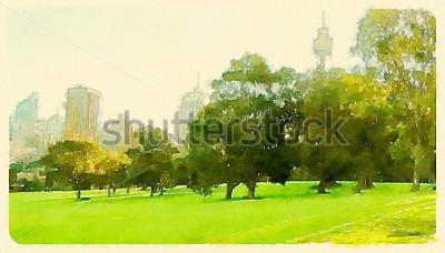 Image illustration aquarelle sydney central park