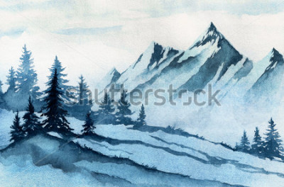 Image Illustration aquarelles Paysage de montagne en hiver, arbres, ciel.