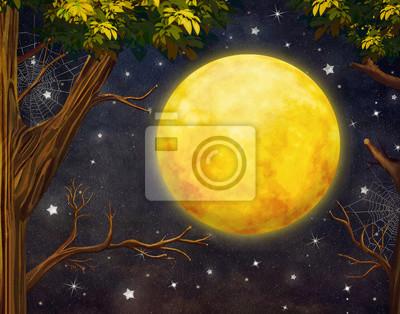 Illustration, Arbres, plein, lune, étoiles, nuit, ciel