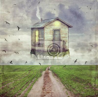 Illustration, art, dessin animé, petite, maison, ciel, au-dessus ...