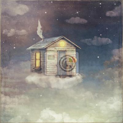 Illustration, art, dessin animé, petite, maison, nuage, nuit ...