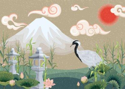 Image illustration avec montagne, grue, lotus et lanternes