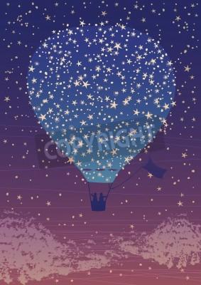 Illustration, chaud, air, ballon, nuit, ciel, étoiles