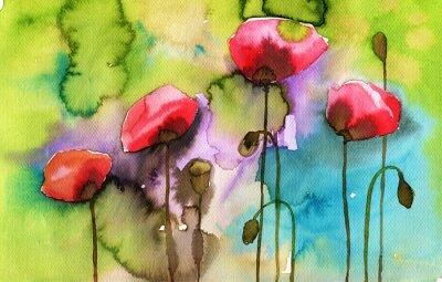 Image illustration d'aquarelle représentant des fleurs de printemps dans la prairie