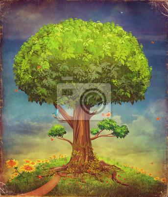 Illustration d'un grand arbre. Fond d'été
