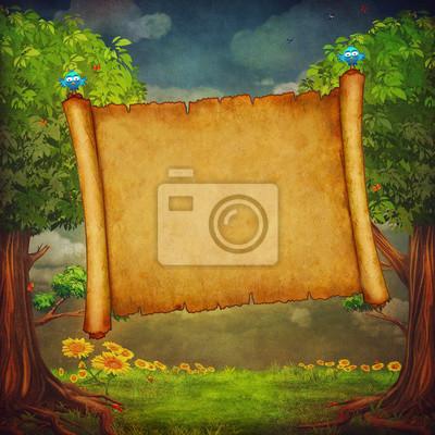 Illustration d'une grande bannière dans la forêt