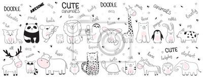 Image Illustration de croquis de dessin animé de vecteur avec des animaux mignons de griffonnage