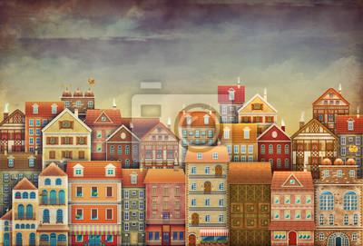 Illustration de jolies maisons dans le ciel