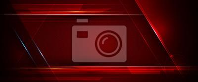 Image Illustration de l'abstrait métallique rouge et noir avec rayons et ligne brillante. Conception de cadre en métal pour le fond. Concept de technologie numérique moderne de conception de vecteur pour fo