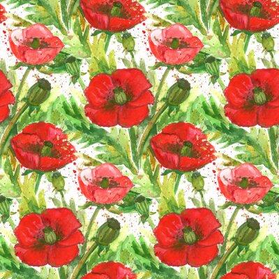 Image Illustration de l'aquarelle des coquelicots rouges