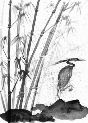 Image illustration de l'aquarelle héron et bambou