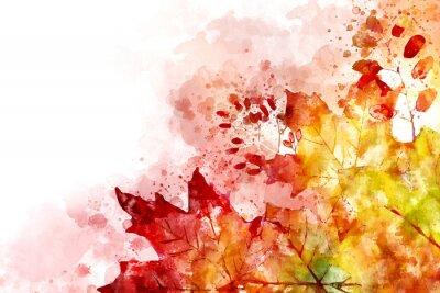 Image Illustration de l'image de l'automne. Fond d'automne avec des feuilles d'érable jaunes et rouges. Aquarelle numérique.