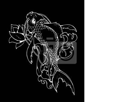 Image Illustration De La Carpe Japonaise Dessin Noir Et Blanc