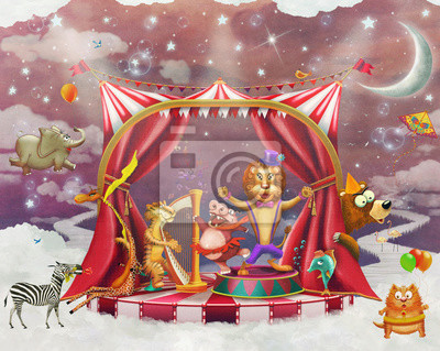 Illustration de mignon, cirque, animaux, étape, ciel - illustration, art
